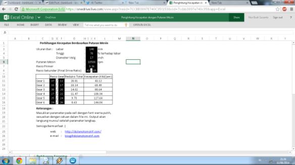 screenshot penghitungan kecepatan berdasarkan putaran mesin
