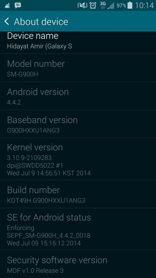Screenshot spesifikasi samsung galaxy s5