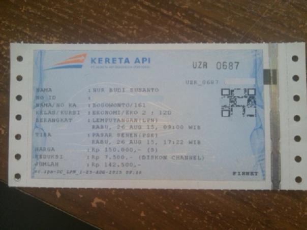 tiket kereta api bogowonto