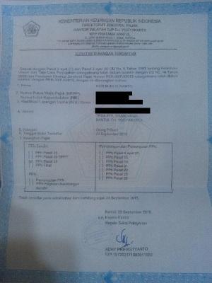 SK terdaftar wajib Pajak