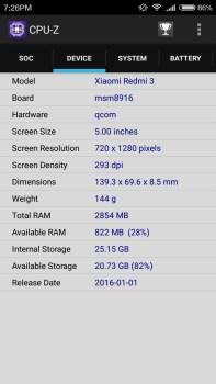 spesifikasi ram dan layar xiaomi redmi 3 pro
